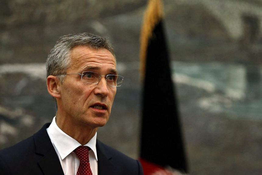 """NATO Secretary General Jens Stoltenberg speaks during a news conference in Kabul on Nov 6, 2014.Russia is making a """"very serious"""" military build-up in Ukraine and on their shared border, deploying troops and sophisticated equipment including ai"""