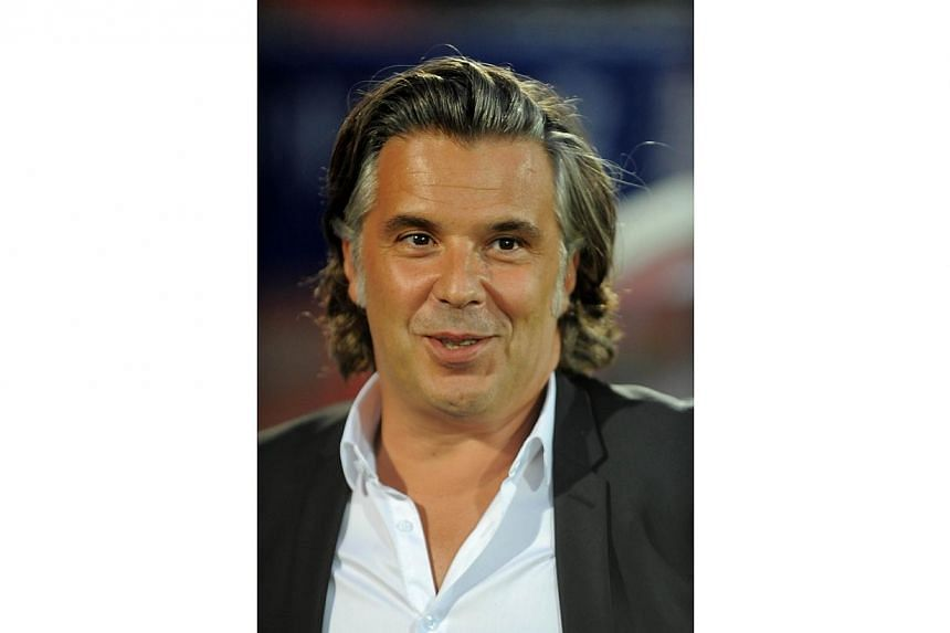 Marseille's French president Vincent Labrune is pictured before the French L1 football match Evian (ETG) against Marseille (OM) on Sept 14, 2014, at the stadium Parc des Sport in Annecy, southern, France.Olympique de Marseille president Vincent