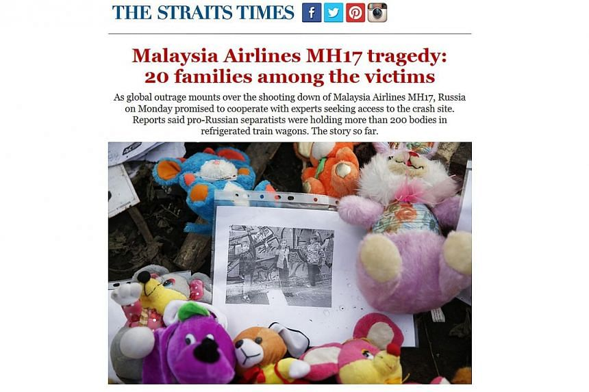 """Full-page screenshot of the second MH17 newsletter, sent out to subscribers on July 21, 2014.The Straits Times won bronze in the """"Best Mobile Service"""" category at the 2014 Asian Digital Media Awards for its two newsletters on Malaysia Airli"""