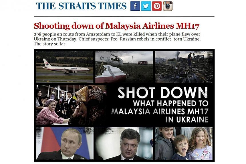 """Full-page screenshot of the first MH17 newsletter, sent out to subscribers on July 18, 2014.The Straits Times won bronze in the """"Best Mobile Service"""" category at the 2014 Asian Digital Media Awards for its two newsletters on Malaysia Airlin"""