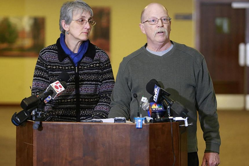 Paula and Ed Kassig, the parents of US aid worker Peter Kassig who was beheaded by ISIS militants, speaking to the press in Indianapolis, Indiana, on Nov 17, 2014. The Kassigs asked for prayers for other captives in Syria and Iraq in a brief public s