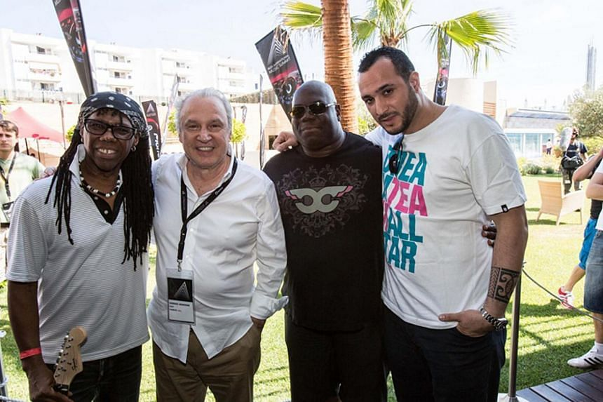 Dance music pioneer Giorgio Moroder (second from left) with Nile Rodgers (from left) and DJs and producers Carl Cox and Loco Dice. --INTERNATIONAL MUSIC SUMMIT