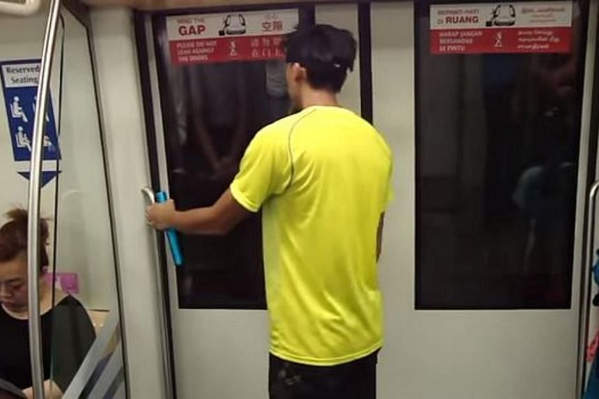 Four relay runners racing the MRT train from Little India to Farrer Park in a promotional video for the upcoming Asics City Relay run. -- PHOTO: SCREENGRAB FROM YOUTUBE