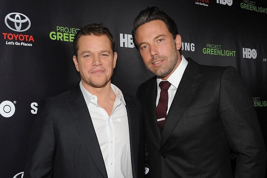 "Actors Matt Damon and Ben Affleck attend HBO Reveals Winner of ""Project Greenlight"" Season 4 at BOULEVARD3 on Nov 7, 2014, in Los Angeles, California. -- PHOTO: AFP"