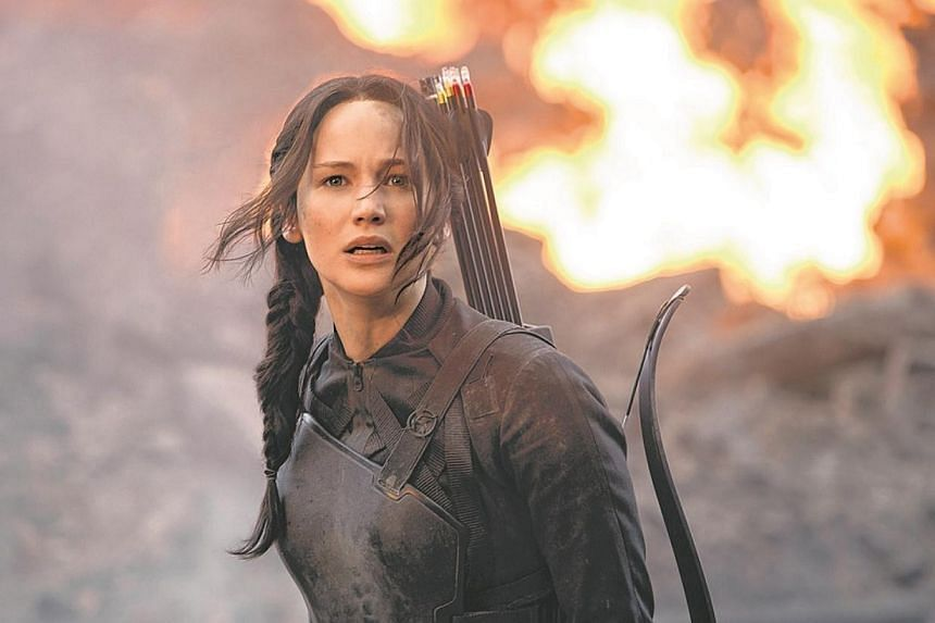 Jennifer Lawrence stars as Katniss Everdeen in The Hunger Games: Mockingjay Part 1. -- PHOTO: CATHAY-KERIS FILMS