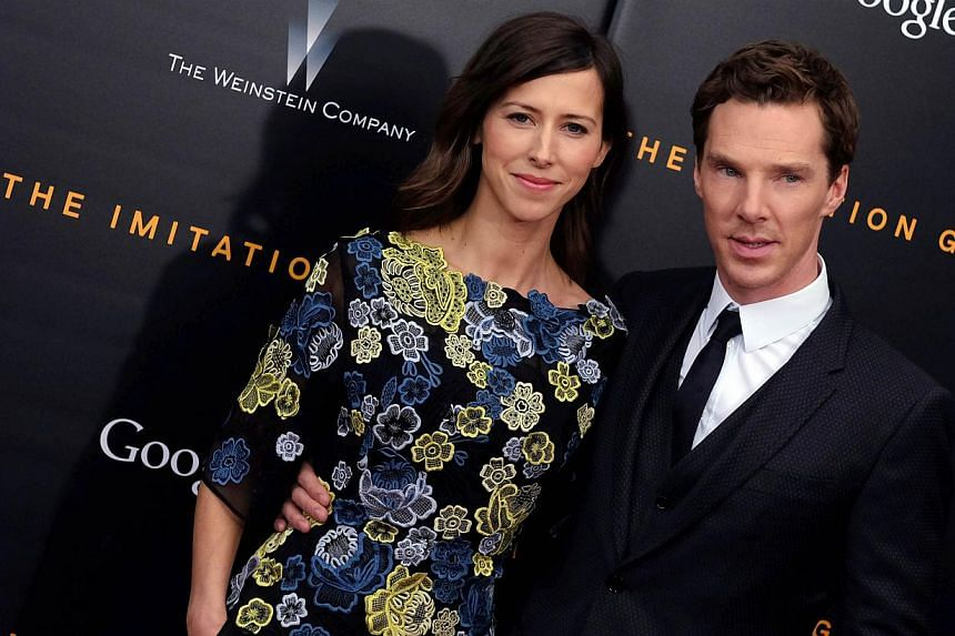 "Director Sophie Hunter (left) and British actor Benedict Cumberbatch arrive for the US premiere of ""The Imitation Game"" at the Ziegfeld Theatre in New York on Nov 17, 2014. -- PHOTO: AFP"