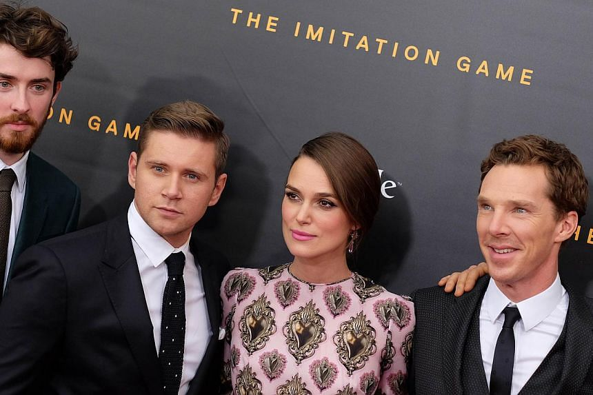 "(From Left) Matthew Beard, Allen Leech, Keira Knightley and Benedict Cumberbatch arrive for the US premiere of ""The Imitation Game"" at the Ziegfeld Theatre in New York on Nov 17, 2014. -- PHOTO: AFP"
