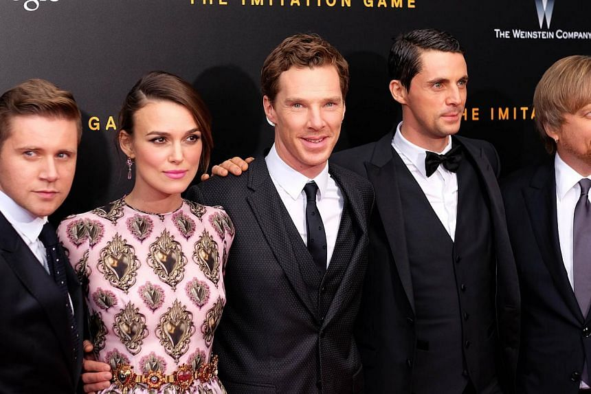 "(From Left) Allen Leech, Keira Knightley, Benedict Cumberbatch, Matthew Goode and Morten Tyldum arrive for the US premiere of ""The Imitation Game"" at the Ziegfeld Theatre in New York on Nov 17, 2014. -- PHOTO: AFP"