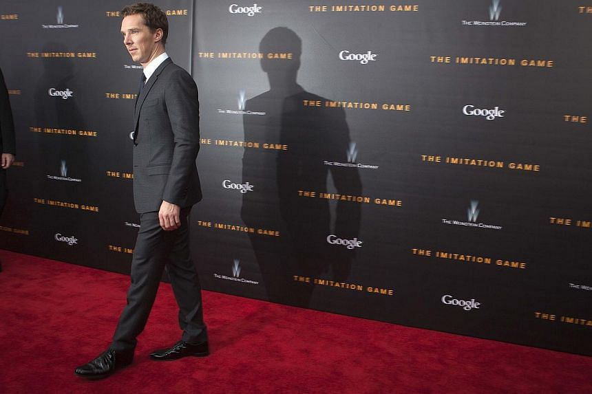 "Actor Benedict Cumberbatch arrives for the premiere of ""The Imitation Game"" in New York, on Nov 17, 2014. -- PHOTO: REUTERS"