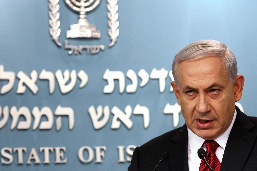 Israeli Prime Minister Benjamin Netanyahu speaking during a press conference at the prime minister's office in Jerusalem on Nov 18, 2014. Israel is facing an ongoing wave of terror which is focused on Jerusalem, Mr Netanyahu said after an attack on a