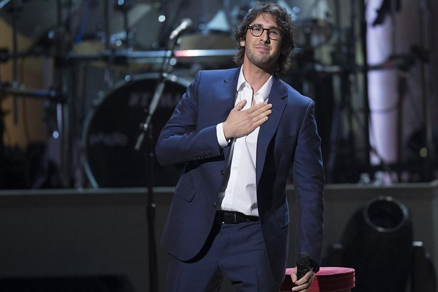 Singer Josh Groban performs during a tribute concert in honour of singer Billy Joel, recipient of the 2014 Library of Congress Gershwin Prize for Popular Song, at DAR Constitution Hall in Washington, DC on Nov 19, 2014. -- PHOTO: AFP