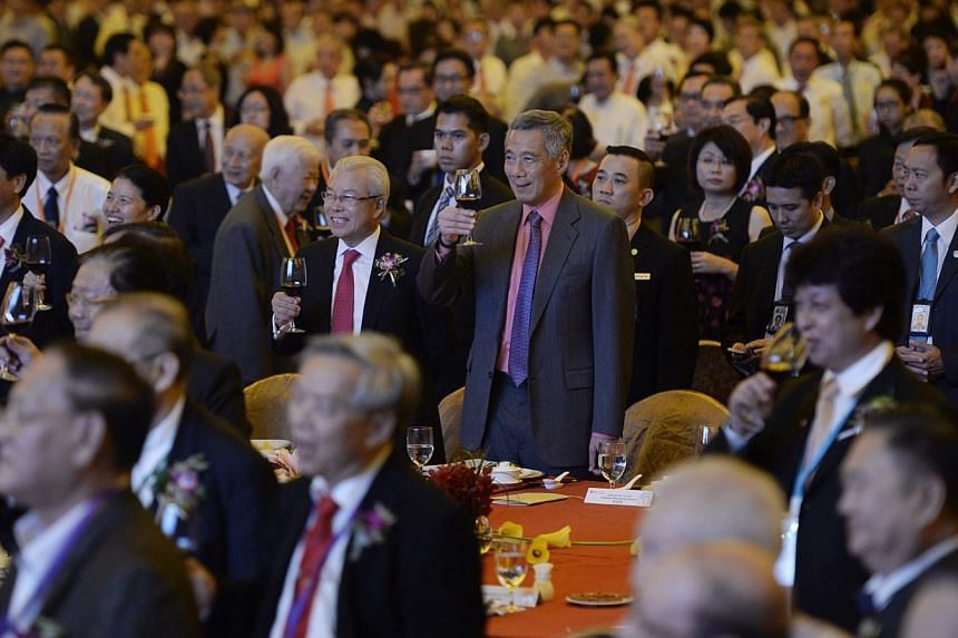 Prime Minister Lee Hsien Loong at the 12th World Convention of Lam Ann clansmen and the 88th anniversary of the Singapore Lam Ann Association. -- ST PHOTO: DESMOND LIM