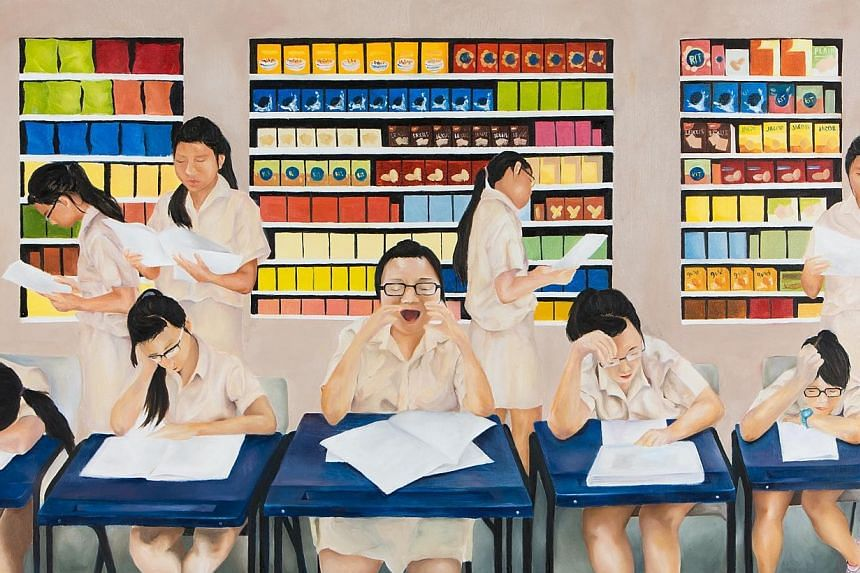17-year-old student Lee Jia Zhen's painting on school life, titled Let's Have A Burger, earned her the Most Promising Artist of the Year Award. -- PHOTO: LEE JIA ZHEN / UOB