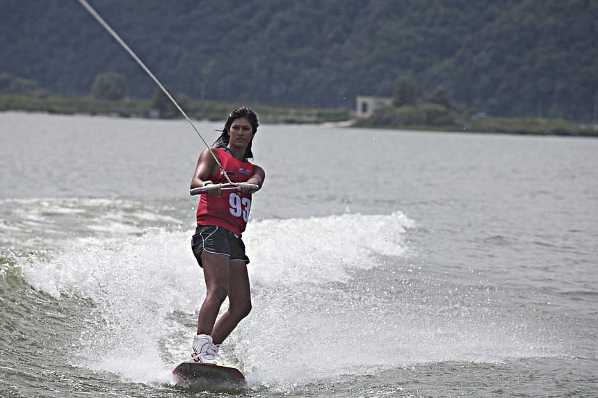 Singapore wakeboarder Sasha Christian won a gold and bronze at the Asian Beach Games in Phuket on Thursday, the Republic's third and fourth medal at the biennial event. -- PHOTO: RED BULL CONTENT POOL