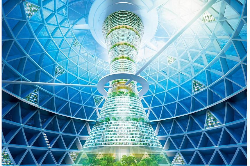 An artist's impression image released from Japan's construction company Shimizu Corporation on Nov 20, 2014 shows a modern-day Atlantis, a sphere 500m in diameter that houses hotels, residential spaces and commercial complexes. -- PHOTO: AFP