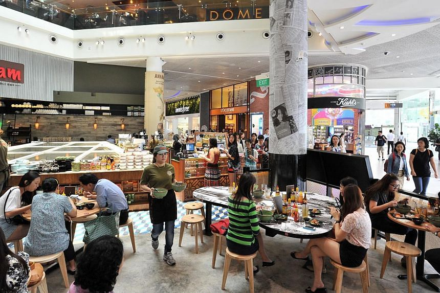Eateries at The Atrium@Orchard. The aim of the exercise was to let retail and food services know where they stood in the industry, and to encourage them to improve. -- PHOTO: ST FILE