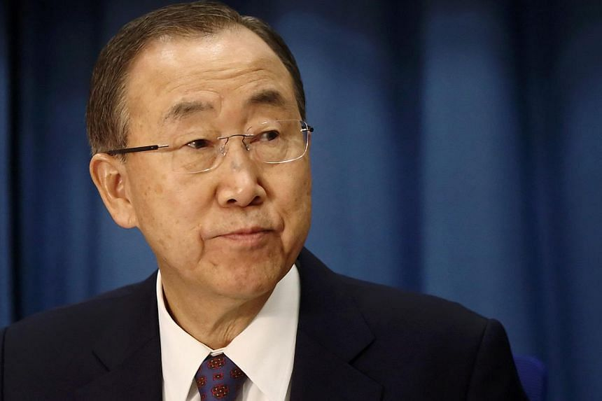 UN chief Ban Ki-moon (above) on Wednesday cautioned against tackling violent Islamic extremism through military means aloneand urged governments to avoid counter-terrorism responses that could lead to rights abuses. -- PHOTO: REUTERS