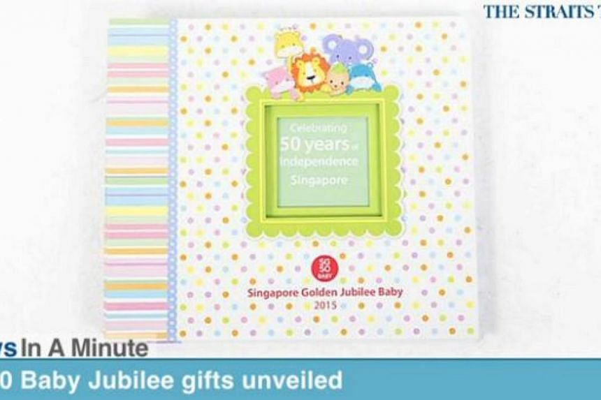 In today's News In A Minute, we look at how parents of babies born next year can look forward to items including a white photo frame and a colourful scrapbook that comes with stickers, as part of the SG50 Baby Jubilee Gift. -- PHOTO: SCREENGRAB FROM