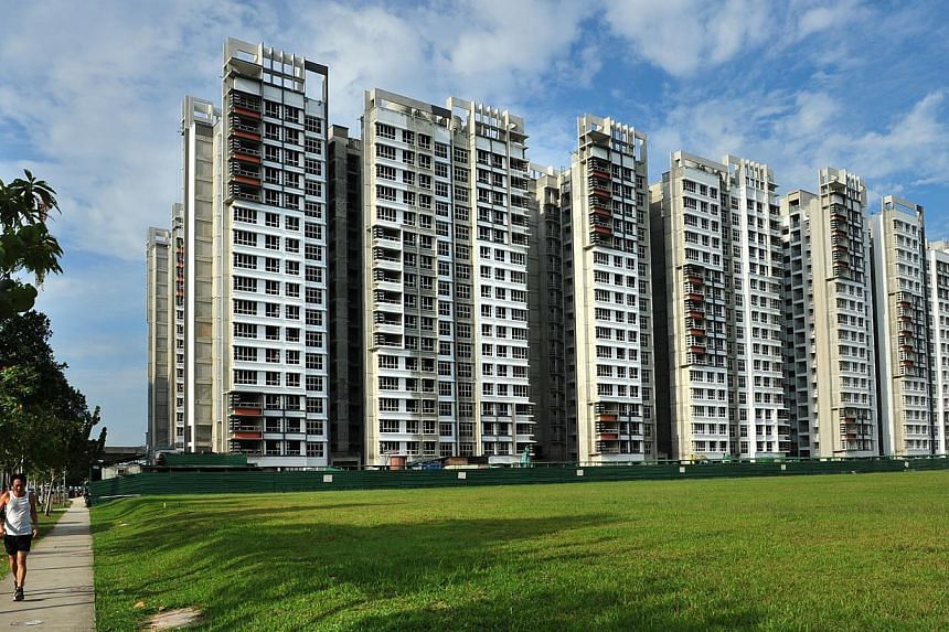 Newly-completed Build-To-Order (BTO) flats at the Edgefield Plains. Up to 30 per cent of the flat supply of BTO and Sale of Balance flats will be set aside for families that want to live near each other. -- PHOTO: ST FILE