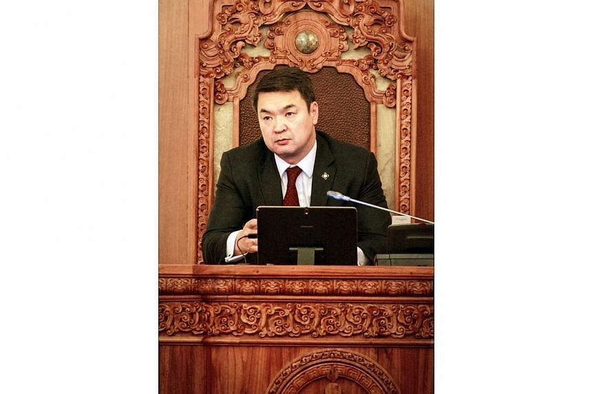 Mongolia's newly elected Prime Minister Chimed Saikhanbileg attends a parliament session in Ulanbator on Nov 21, 2014. Mongolia's parliament Friday chose a new prime minister to head its fractured government, an official website said, as the spr