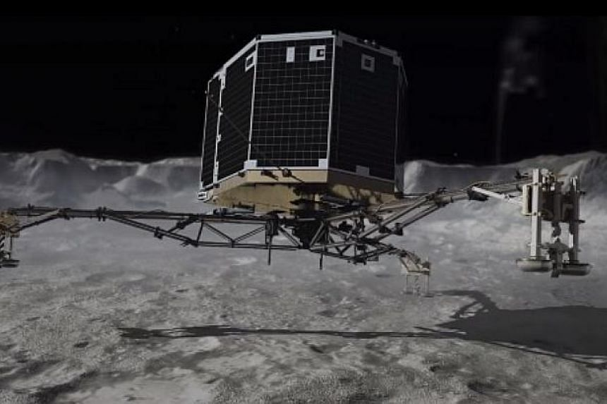 A screenshot from the video released by scientists at the German space agency DLR. There is no sound in space, so the team transcribed a two-second vibrations signal received from the Philae space probe as it landed into its acoustic equivalent.-- PH