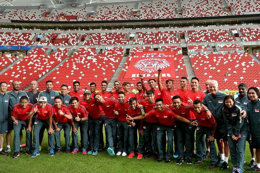 Players and officials from the national team pose for a picture on the the pitch as they tour the Sports Hub on Nov 21, 2014, ahead of the AFF Suzuki Cup. -- ST PHOTO:KUA CHEE SIONG