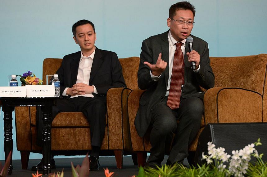 """ST news editor, Peh Shing Huei and senior research fellow, East Asian Institute, NUS, Dr. Lam Peng Er. ST Global Outlook 2014.As Japan's economic policies, or Abenomics, take shape, the country is a """"canary in the coal mine"""", a harbinger for th"""