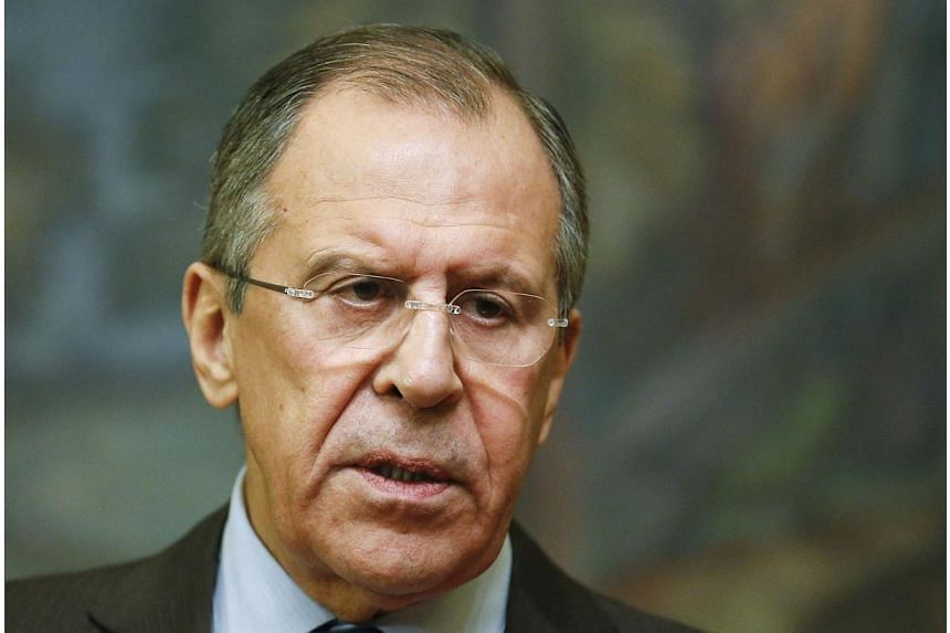 Russia's Foreign Minister Sergei Lavrov speaks during a news conference after a meeting with his Saudi Arabian counterpart Saud al-Faisal in Moscow on Nov 21, 2014.Foreign Minister Sergei Lavrov accused the West on Saturday of trying to use san