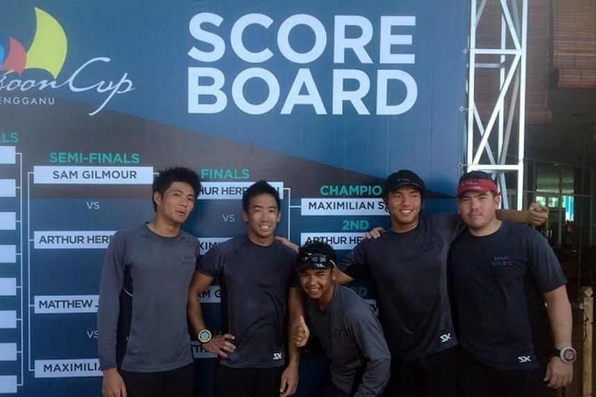 Sailors (from left) Russell Kan, Justin Wong, Malaysian Mohd Saifullah, Maximilian Soh and Christopher Lim.The Singapore flag will fly for the first time at the Monsoon Cup when it is held next February, after keelboat side Team Red Dot won the