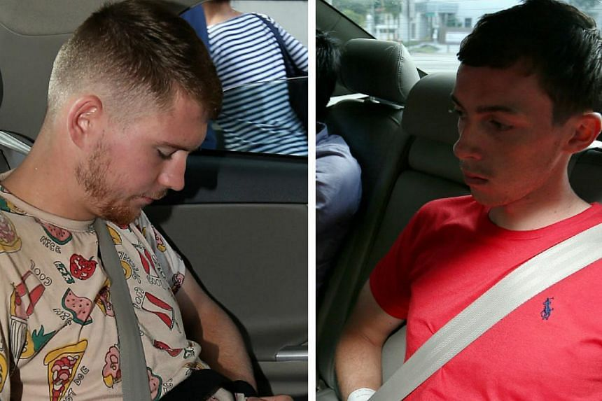 The two German men, Andreas Von Knorres (right) and Elton Hinz (left),both 21, were arrested in Kuala Lumpur International Airport for their suspected involvement in vandalising an SMRT train at Bishan Depot earlier this month. -- PHOTOS: WONG