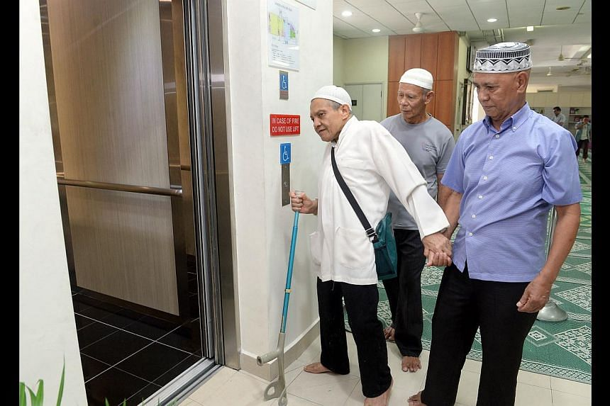 The new lift in the Al-Istiqamah Mosque in Serangoon North improves access to the three-storey main mosque building for the elderly and people with limited mobility.
