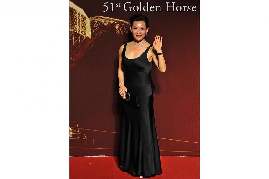 Chinese actress Chen Chong arrives ahead of the Golden Horse Film Awards in Taipei on Nov 22, 2014. -- PHOTO: AFP