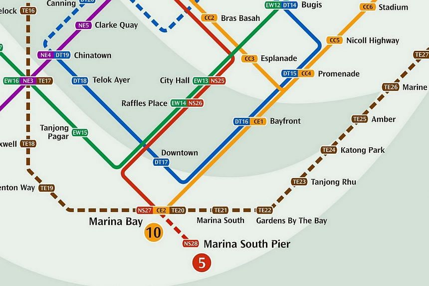The newest station on the North-South line, the Marina South Pier MRT Station, will serve the Marina South area, including passengers travelling through the Marina South Pier and the Marina Bay Cruise Centre. -- SCREENGRAB: LTA