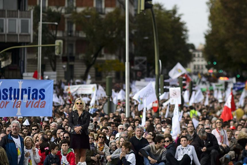 Anti-abortion supporters take part in a march in Madrid on Sep 22, 2014. -- PHOTO: AFP