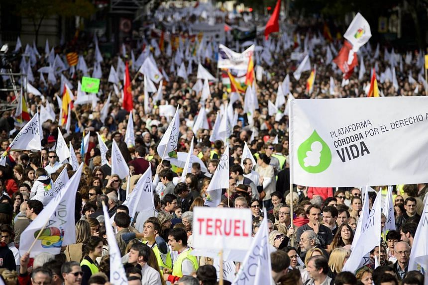 """Supporters hold flags and a banner reading """"Platform for the right to life"""" during a march against abortion in Madrid on Sept 22, 2014.-- PHOTO: AFP"""