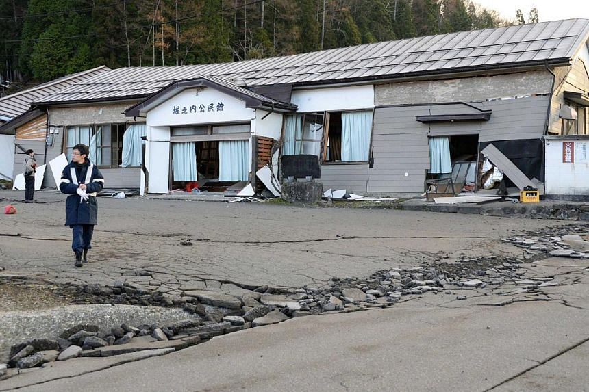Damage caused by an earthquake in Hakuba town, Nagano prefecture, on Nov 23, 2014. -- PHOTO: REUTERS