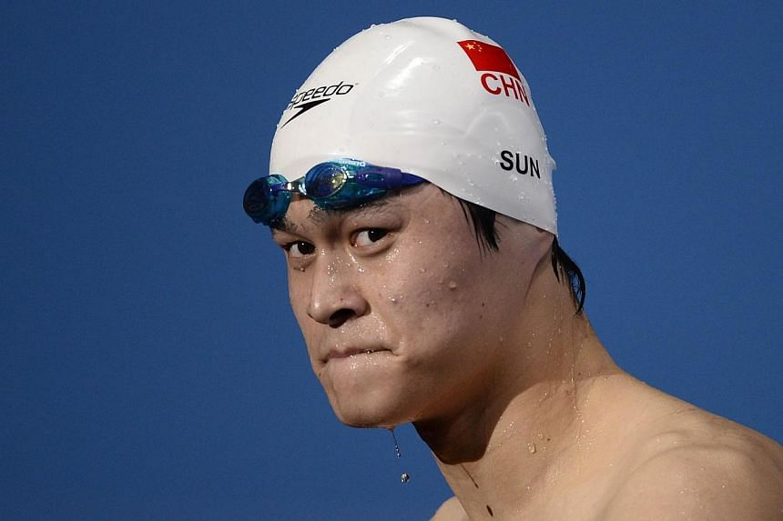 Sun Yang's three month ban, following a positive test for the stimulant trimetazidine, was imposed in July, Xinhua said, citing the China Anti-Doping Agency. -- PHOTO: AFP