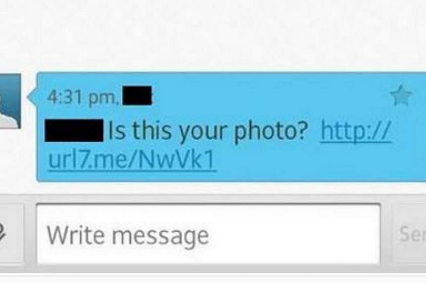 An example of the malware link sent via SMS. -- PHOTO: SingTel/FACEBOOK