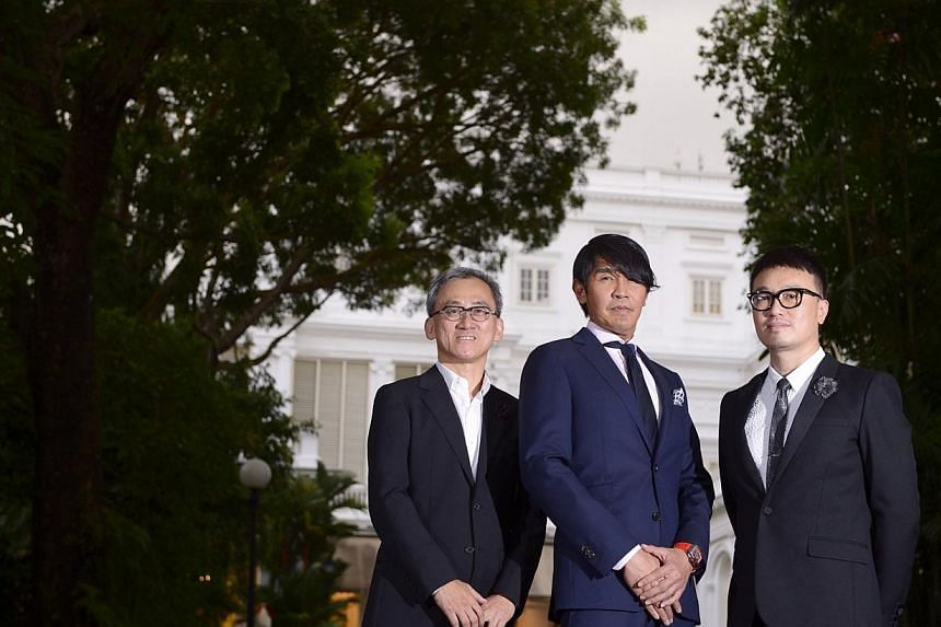 Winners of Designer of the Year at the President's Design Award 2014, (from left) Mr Tan Kok Hiang, principal director of Forum Architects, Mr Peter Tay, design director at Studio Peter Tay, and Mr Larry Peh, founder and creative director of &lar