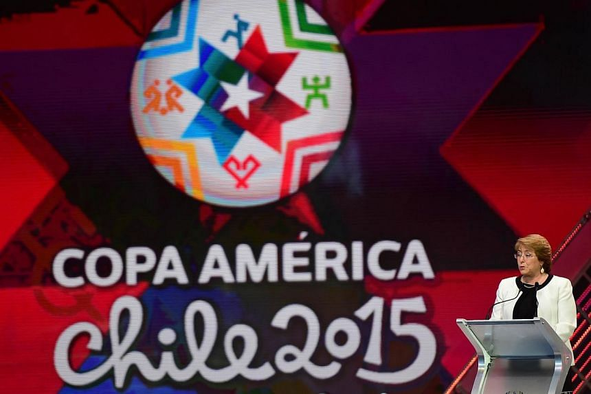 Chilean President Michelle Bachelet speaks during the Copa America 2015 draw ceremony, at the Quinta Vergara in Vina del Mar, Chile, on Nov 24, 2014.Next year's Copa America in Chile will give Brazil the chance to bury the ghosts of their miser