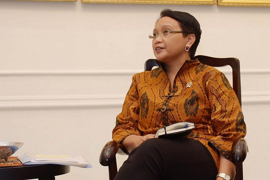 Indonesian Foreign Minister Retno Marsudi will be making her introductory visit to Singapore on Wednesday. -- PHOTO: AFP