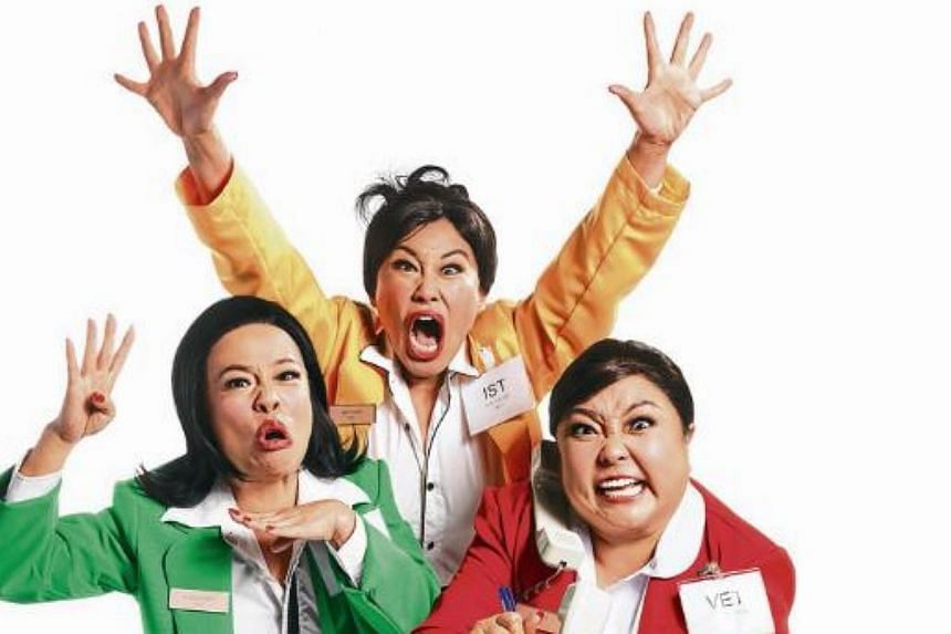 The cast of Dim Sum Dollies, (from left) Pam Oei, Denise Tan and Selena Tan. The trio is taking to the stage next month with the show The History Of Singapore Part 2. -- PHOTO: DREAM ACADEMY