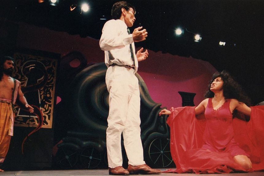 The Lady Of Soul, a political satire by Tan Tarn How, was first produced by TheatreWorks in 1993 and featured (from left) Lut Ali, Lim Kay Tong and Jacintha Abisheganaden. It was subjected to a lot of censorship, and then no censorship. -- PHOTO: THE