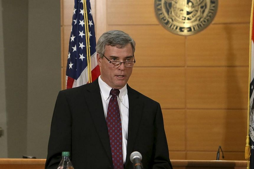 St Louis County Prosecutor Bob McCulloch announcing on Nov 24, 2014, the grand jury's decision not to indict Ferguson police officer Darren Wilson in the Aug 9 shooting death of Michael Brown. -- PHOTO: REUTERS