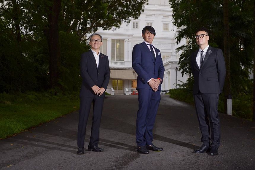 Winners of Designer of the Year at the President's Design Award 2014: (from left) Forum Architects director Tan Kok Hiang, Studio Peter Tay design director Peter Tay and Mr Larry Peh, founder and creative director of &Larry, at the Istana yesterday.