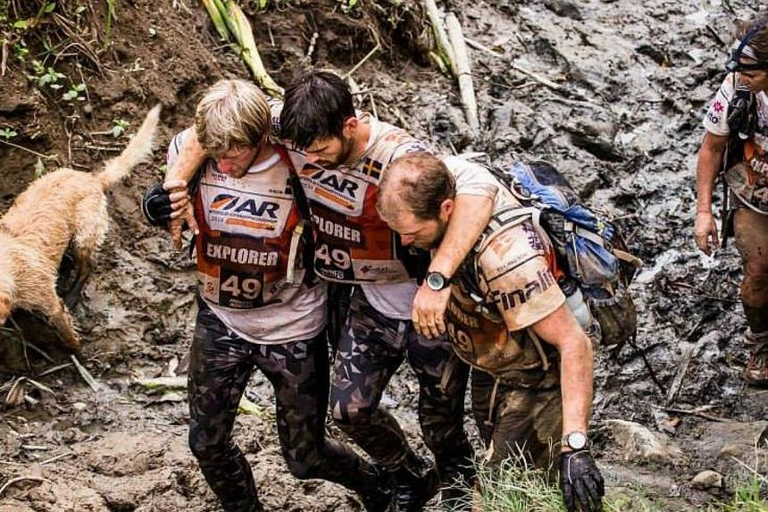 Arthur tags along with the team, ploughing through the mudin a photograph from the team's Facebook page. He refused to leave their side, even when they hit the water in kayaks. Deep in the rainforest of Ecuador, four hungry Swedish athletes com