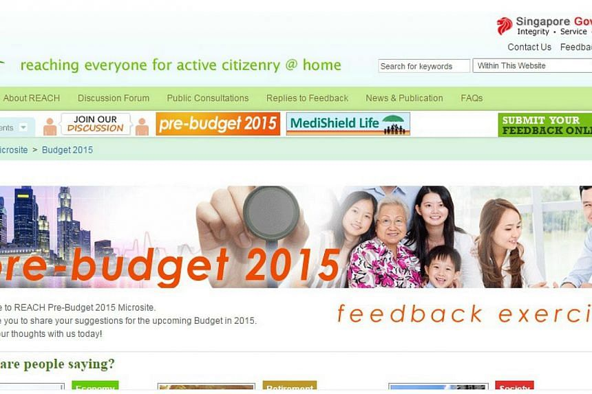 The Ministry of Finance is seeking the views of all Singaporeans for ideas and suggestions on possible measures for Budget 2015. -- SCREENGRAB: REACH.GOV.SG