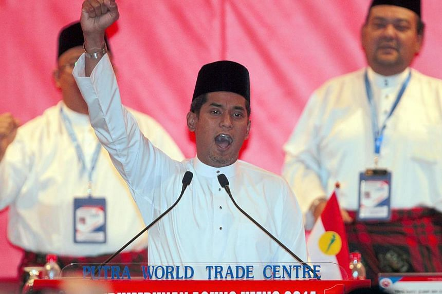 Umno Youth Chief Khairy Jamaluddin pictured at the UMNO Meeting on Nov 26, 2014. -- PHOTO: SIN CHEW DAILY PUBLICATION