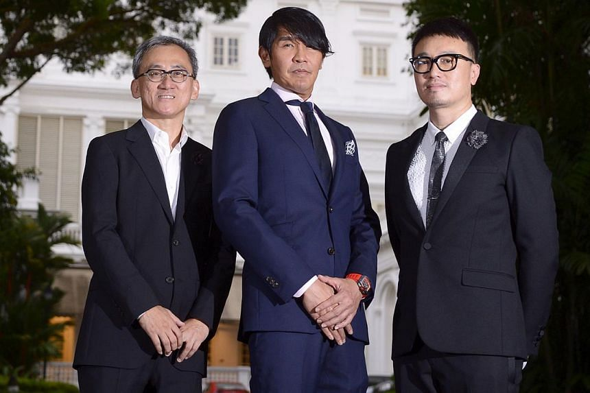Winning designers (from left) Tan Kok Hiang, principal director of Forum Architects; Peter Tay, design director at Studio Peter Tay; and Larry Peh, founder and creative director of &larry at The Istana on Nov 25, 2014. -- ST PHOTO:MARK CHEO