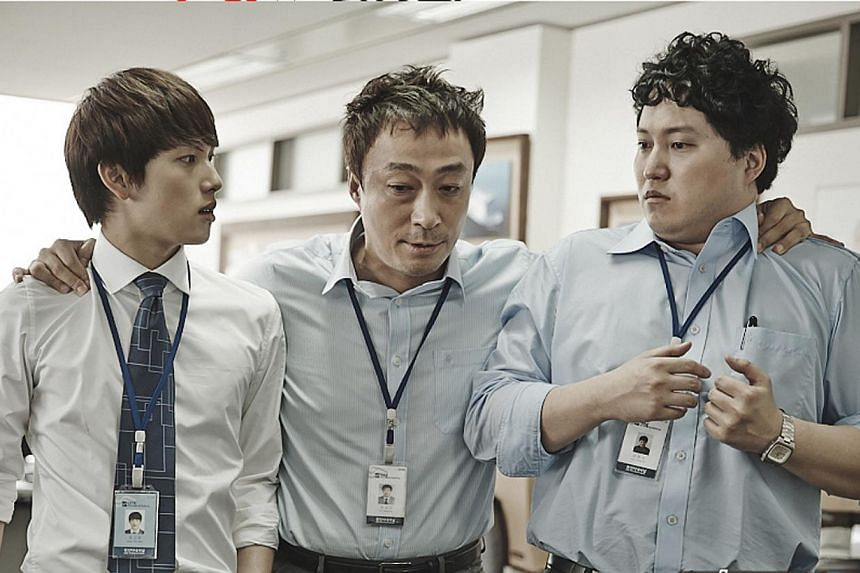 Incomplete Life stars (from far left) Yim Si Wan as an intern at a trading company, Lee Sung Min as sales manager and Kim Dae Myeong as an assistant manager. -- PHOTO: TVN